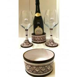 Set calici in cristallo e base in ceramica di Deruta - decori diversi -  altezza cm  22 - Artigianato Artistico Fatto a mano