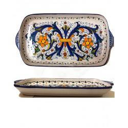 Vassoio in ceramica decoro ricco di Deruta - dimensioni cm  18x35 - Artigianato Artistico Fatto a Mano