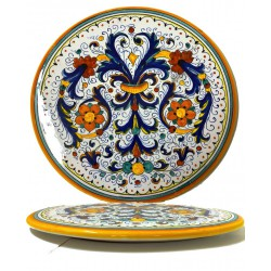 Tortiera in ceramica decoro ricco di Deruta - diametro cm 25- Artigianato Artistico Fatto a Mano