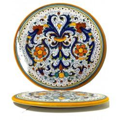 Tortiera in ceramica decoro ricco di Deruta - diametro cm 30- Artigianato Artistico Fatto a Mano