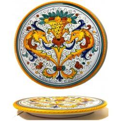 Tortiera in ceramica decoro raffaellesco di Deruta - diametro cm 35- Artigianato Artistico Fatto a Mano
