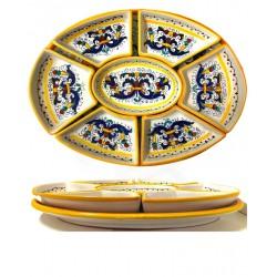 Antipastiera ovale in ceramica decori ricco Deruta 12 porzioni- dimensione cm 35x48- Artigianato Artistico Fatto a Mano