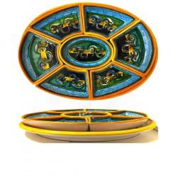 Antipastiera ovale in ceramica decori geometrici 12 porzioni- dimensione cm 35x48- Artigianato Artistico Fatto a Mano