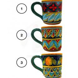 Tazza Mug in ceramica  decori diversi Deruta - diametro cm 8 - Artigianato Artistico Fatto a Mano
