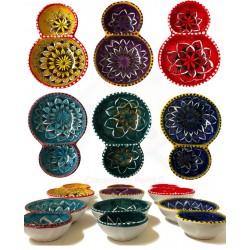Porta olive/arachidi in ceramica  decori diversi Deruta - dimensioni cm 16 x 11 - Artigianato Artistico Fatto a Mano
