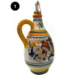 Bottiglia olio/aceto in ceramica decori diversi Deruta - dimensione altezza cm 18 - Artigianato Artistico Fatto a Mano