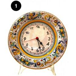 Orologio da parete in ceramica decori diversi Deruta - diametro cm 25 - Artigianato Artistico Fatto a Mano