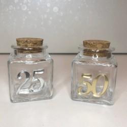 Barattolo vetro con applicazione plexi 25 o 50. CM 4x4 H 6
