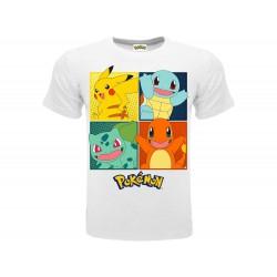T-Shirt Pokémon Starter di Kanto, cotone 100%. Prodotto originale venduto su licenza.