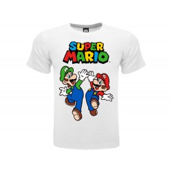 T-Shirt Nintendo Super Mario - Luigi & Mario, cotone 100%. Prodotto originale venduto su licenza.