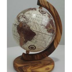 Mappamondo in legno di olivo - cm 20x15- Artigianato Artistico Fatto a Mano