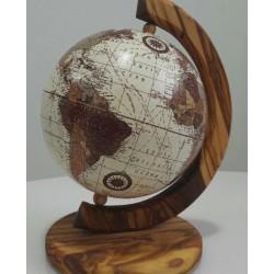 Mappamondo in legno di olivo - cm 26x28- Artigianato Artistico Fatto a Mano