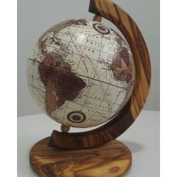 Mappamondo in legno di olivo - cm 36x28- Artigianato Artistico Fatto a Mano