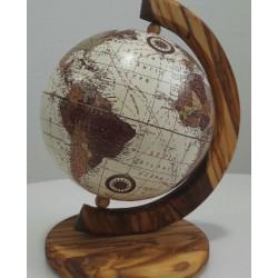 Mappamondo in legno di olivo - cm 50x40- Artigianato Artistico Fatto a Mano