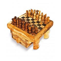 Scacchiera con cassetto in legno di olivo -cm 20x20 - Artigianato Artistico fatto a mano