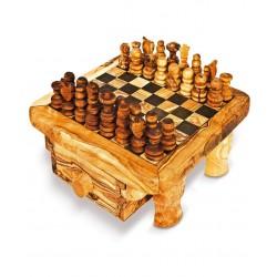Scacchiera con cassetto in legno di olivo -cm 25x25 - Artigianato Artistico fatto a mano