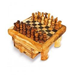 Scacchiera con cassetto in legno di olivo -cm 30x30- Artigianato Artistico fatto a mano