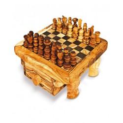Scacchiera con cassetto in legno di olivo -cm 35x35 - Artigianato Artistico fatto a mano