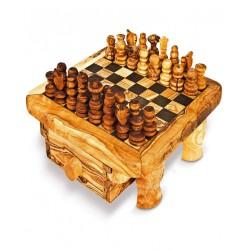 Scacchiera con cassetto in legno di olivo -cm 40x40 - Artigianato Artistico fatto a mano