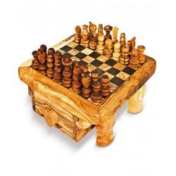 Scacchiera con cassetto in legno di olivo -cm 45x45 - Artigianato Artistico fatto a mano