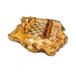 Scacchiera rustica in legno di olivo -cm 25x25 - Artigianato Artistico fatto a mano