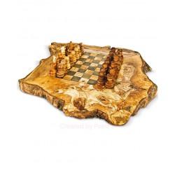Scacchiera rustica in legno di olivo -cm 40x40 - Artigianato Artistico fatto a mano