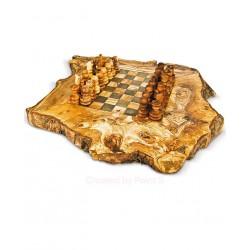 Scacchiera rustica in legno di olivo -cm 45x45 - Artigianato Artistico fatto a mano