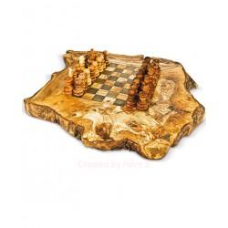 Scacchiera rustica in legno di olivo -cm 50x50 - Artigianato Artistico fatto a mano