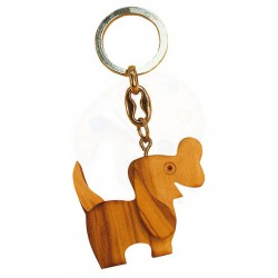 Portachiavi con cane in legno di olivo -cm 5x5 - Artigianato Artistico fatto a mano