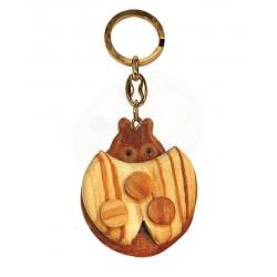 Portachiavi con coccinella in legno di olivo -cm 5x5 - Artigianato Artistico fatto a mano