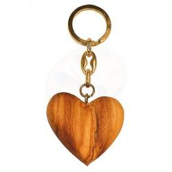 Portachiavi con cuore in legno di olivo -cm 5x5 - Artigianato Artistico fatto a mano