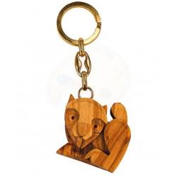 Portachiavi con gatto in legno di olivo -cm 5x5 - Artigianato Artistico fatto a mano