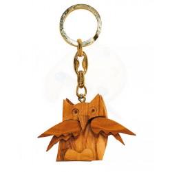 Portachiavi con gufo in legno di olivo -cm 5x5 - Artigianato Artistico fatto a mano