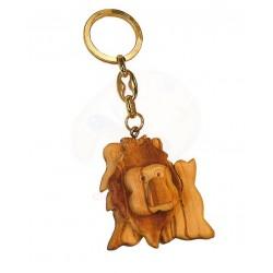 Portachiavi con leone in legno di olivo -cm 5x5 - Artigianato Artistico fatto a mano