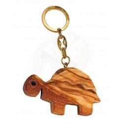 Portachiavi con tartaruga in legno di olivo -cm 5x5 - Artigianato Artistico fatto a mano