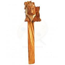 Segnalibro con leone in legno di olivo -cm 17x5 - Artigianato Artistico fatto a mano