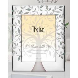 Portafoto argento con disegno albero e dettagli verdi, retro legno. CM 10x15