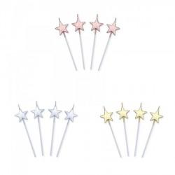Set 4 candeline stella rosa, oro o silver. CM 13