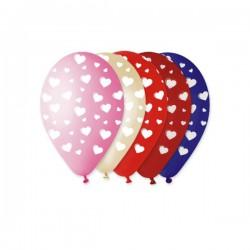 Set 10 palloncini lattice colorati misti con cuori bianchi. CM 30