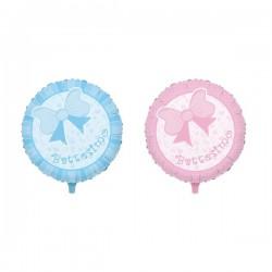 Palloncino mylar con fiocco rosa o azzurro. Diam. 45