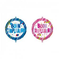 """Palloncino mylar con scritta """"Buon Compleanno"""" rosa o azzurro. Diam. 45"""