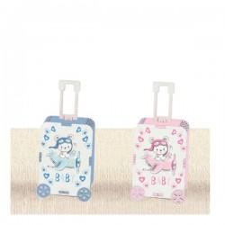 Scatola portaconfetti in legno a forma di valigia con decori baby. Parte contenitiva: CM 7,5x5 H 3