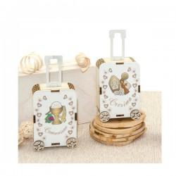 Scatola portaconfetti in legno a forma di valigia con decori comunione o cresima. Parte contenitiva: CM 7,5x5 H 3