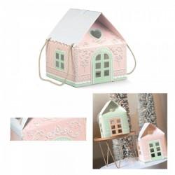 Scatola forma casetta di marzapane rosa con manici corda CM 24.5x24.5 H 15