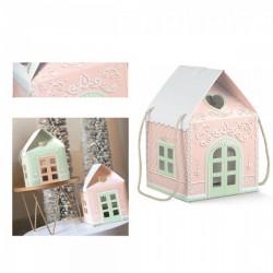 Scatola forma casetta di marzapane rosa con manici corda CM 20x20 H 18