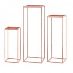 Set 3 basi a forma di parallelepipedo con piatto colore rose gold. CM 22x22 H 55 / CM 30x30 H 90