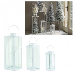 Set 3 lanterne metallo bianco con manico. H 38-53-70