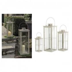 Set 3 lanterne metallo tortora con manico. H 38-53-70