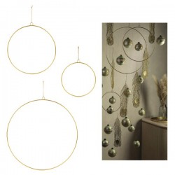 Set 3 cerchi in metallo oro da appendere. Diam. 25/35/50