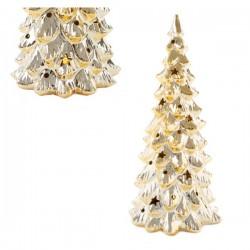 Albero porcellana oro lucido con luci LED. Diam. 12.5 H 27